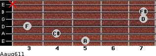 Aaug6/11 for guitar on frets 5, 4, 3, 7, 7, x