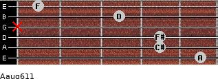 Aaug6/11 for guitar on frets 5, 4, 4, x, 3, 1