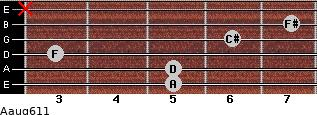 Aaug6/11 for guitar on frets 5, 5, 3, 6, 7, x