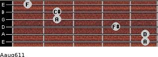 Aaug6/11 for guitar on frets 5, 5, 4, 2, 2, 1