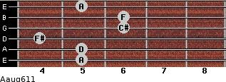 Aaug6/11 for guitar on frets 5, 5, 4, 6, 6, 5