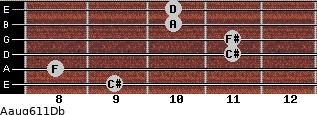 Aaug6/11/Db for guitar on frets 9, 8, 11, 11, 10, 10