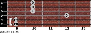 Aaug6/11/Db for guitar on frets 9, 9, 12, 10, 10, 10