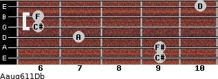 Aaug6/11/Db for guitar on frets 9, 9, 7, 6, 6, 10