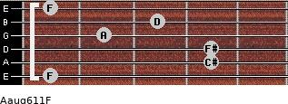 Aaug6/11/F for guitar on frets 1, 4, 4, 2, 3, 1