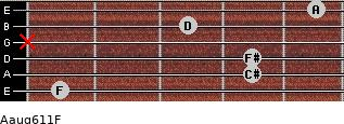 Aaug6/11/F for guitar on frets 1, 4, 4, x, 3, 5