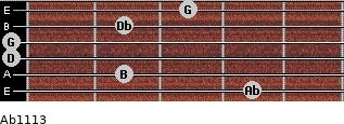 Abº11\13 for guitar on frets 4, 2, 0, 0, 2, 3