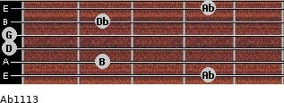 Abº11\13 for guitar on frets 4, 2, 0, 0, 2, 4