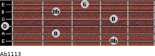 Abº11\13 for guitar on frets 4, 2, 0, 4, 2, 3