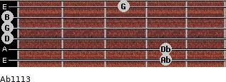 Abº11\13 for guitar on frets 4, 4, 0, 0, 0, 3