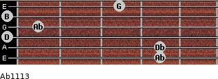 Abº11\13 for guitar on frets 4, 4, 0, 1, 0, 3
