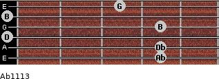Abº11\13 for guitar on frets 4, 4, 0, 4, 0, 3