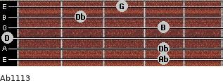 Abº11\13 for guitar on frets 4, 4, 0, 4, 2, 3