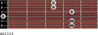 Abº11\13 for guitar on frets 4, 4, 0, 4, 3, 3