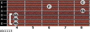 Ab11/13 for guitar on frets 4, 4, 4, 8, 6, 8