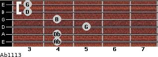 Abº11\13 for guitar on frets 4, 4, 5, 4, 3, 3