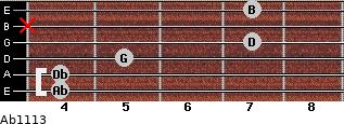 Abº11\13 for guitar on frets 4, 4, 5, 7, x, 7