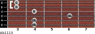 Abº11\13 for guitar on frets 4, 4, 6, 4, 3, 3