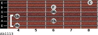 Ab11/13 for guitar on frets 4, 6, 4, 6, 6, 8
