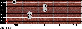 Abº11\13 for guitar on frets x, 11, 11, 12, 12, 10