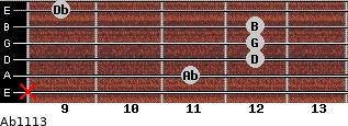 Abº11\13 for guitar on frets x, 11, 12, 12, 12, 9