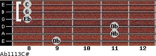 Ab11\13\C# for guitar on frets 9, 11, 11, 8, 8, 8