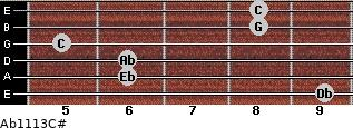 Ab11\13\C# for guitar on frets 9, 6, 6, 5, 8, 8