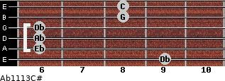 Ab11\13\C# for guitar on frets 9, 6, 6, 6, 8, 8