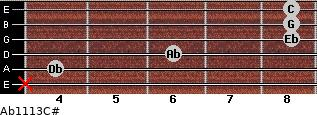 Ab11\13\C# for guitar on frets x, 4, 6, 8, 8, 8