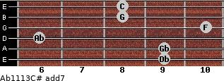 Ab11/13/C# add(7) for guitar on frets 9, 9, 6, 10, 8, 8
