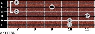 Abº11\13\D for guitar on frets 10, 10, 11, 7, 9, 7