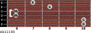 Abº11\13\D for guitar on frets 10, 10, 6, 6, 8, 7