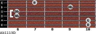 Abº11\13\D for guitar on frets 10, 10, 6, 6, 9, 7