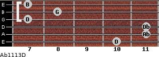 Abº11\13\D for guitar on frets 10, 11, 11, 7, 8, 7