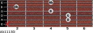Abº11\13\D for guitar on frets x, 5, 5, 4, 2, 4