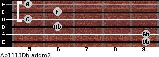 Ab11/13/Db add(m2) guitar chord
