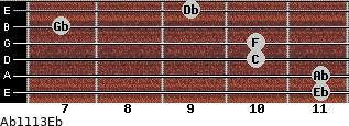 Ab11/13/Eb for guitar on frets 11, 11, 10, 10, 7, 9