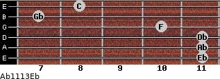 Ab11/13/Eb for guitar on frets 11, 11, 11, 10, 7, 8