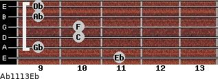 Ab11/13/Eb for guitar on frets 11, 9, 10, 10, 9, 9