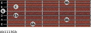 Ab11\13\Gb for guitar on frets 2, 4, 1, 0, 1, 4