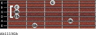 Ab11\13\Gb for guitar on frets 2, 4, 1, 1, 1, 3