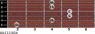 Ab11\13\Gb for guitar on frets 2, 4, 5, 5, 4, 4