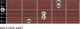 Ab11/13/Gb add(7) for guitar on frets 2, 3, 3, 0, 4, 4