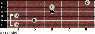 Ab11/13b5 for guitar on frets 4, 5, 4, 6, 6, 8