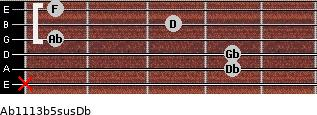 Ab11/13b5sus/Db for guitar on frets x, 4, 4, 1, 3, 1