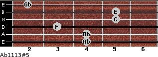 Ab11/13#5 for guitar on frets 4, 4, 3, 5, 5, 2