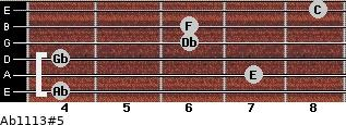 Ab11/13#5 for guitar on frets 4, 7, 4, 6, 6, 8