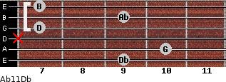 Abº11\Db for guitar on frets 9, 10, x, 7, 9, 7