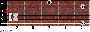 Abº11\Db for guitar on frets 9, 5, 5, x, 9, 7