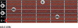 Abº11\Db for guitar on frets x, 4, 0, 1, 0, 3